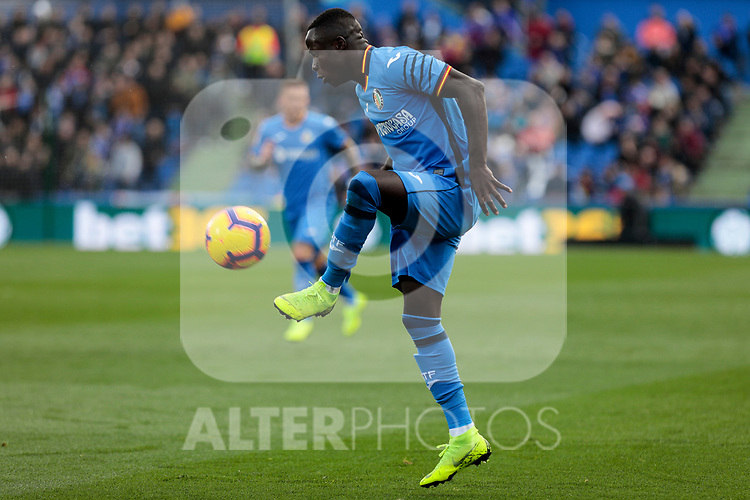 Getafe CF's Amath Ndiaye during La Liga match between Getafe CF and Valencia CF at Coliseum Alfonso Perez in Getafe, Spain. November 10, 2018.
