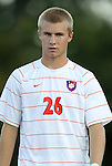 14 September 2012: Clemson's Kyle Fisher. The Duke University Blue Devils defeated the Clemson University Tigers 2-0 at Koskinen Stadium in Durham, North Carolina in a 2012 NCAA Division I Men's Soccer game.