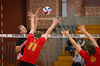 STANFORD, CA - January 2, 2018: Eli Wopat at Burnham Pavilion. The Stanford Cardinal defeated the Calgary Dinos 3-1.