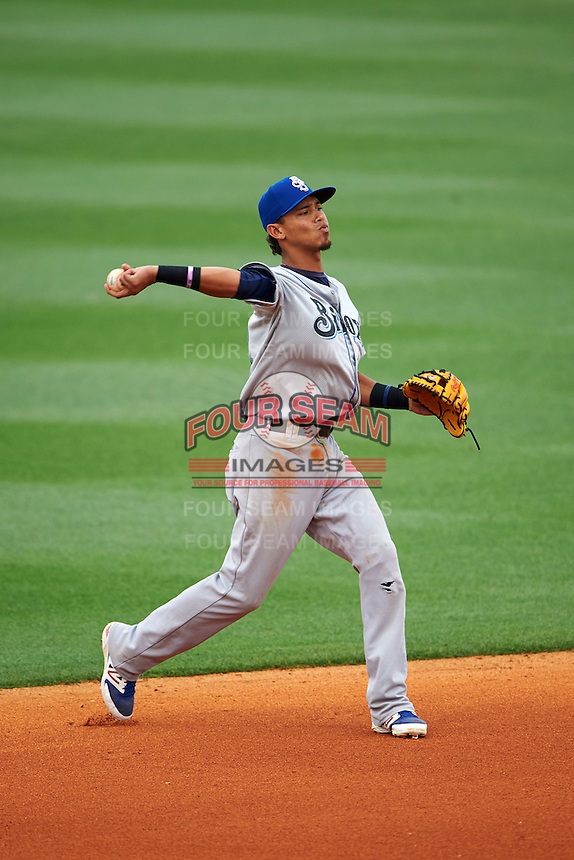 Biloxi Shuckers shortstop Orlando Arcia (2) throws to first during the second game of a double header against the Pensacola Blue Wahoos on April 26, 2015 at Pensacola Bayfront Stadium in Pensacola, Florida.  Pensacola defeated Biloxi 2-1.  (Mike Janes/Four Seam Images)