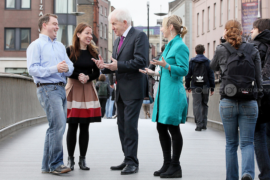 """NO REPRO FEE. Authors not Gadgets. Pictured are L-R  Darragh O'Connell, Oscar Nominated Brownbag Films based in Dublin (""""Octonauts""""), Birch Hamilton , Executive Director, Screen Directors Guild of Ireland (SDGI), Jimmy Deenihan TD, Minister of Arts, Heritage and Gaeltacht Affairs and Juanita Wilson, Oscar nominated Irish filmmaker (The Door, As If I Am Not There) and .The Screen Directors Guild of Ireland (SDGI) welcomed a large number of directors and writers from across the globe to a high-profile international conference in The Morrison Hotel, Dublin today. The conference has a particular focus on the issue of authors' rights as many directors and writers are struggling to have their voices heard amidst the technological clatter and noise. Picture James Horan/Collins Photos"""
