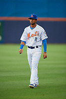 St. Lucie Mets second baseman Luis Carpio (11) warms up before the first game of a doubleheader against the Charlotte Stone Crabs on April 24, 2018 at First Data Field in Port St. Lucie, Florida.  St. Lucie defeated Charlotte 5-3.  (Mike Janes/Four Seam Images)