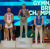 17th March 2019, M&S Arena, Liverpool, England; Gymnastics British Championships day 4;  Men's Artistic Masters Horizontal Bar Final medallists L to R REGINI-MORAN Giarnni, Europa Gym Club, FRASER Joe, City of Birmingham Gym Club, WHITLOCK MBE Max, South Essex Gymnastics Club