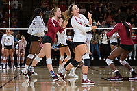 STANFORD, CA - September 9, 2018: Morgan Hentz, Meghan McClure, Tami Alade at Maples Pavilion. The Stanford Cardinal defeated #1 ranked Minnesota 3-1 in the Big Ten / PAC-12 Challenge.