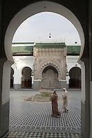 Afrique/Afrique du Nord/Maroc/Fèz: Dans la médina de Fèz-El-Bali Cour intérieure de la Mosquée Qaraouiyne
