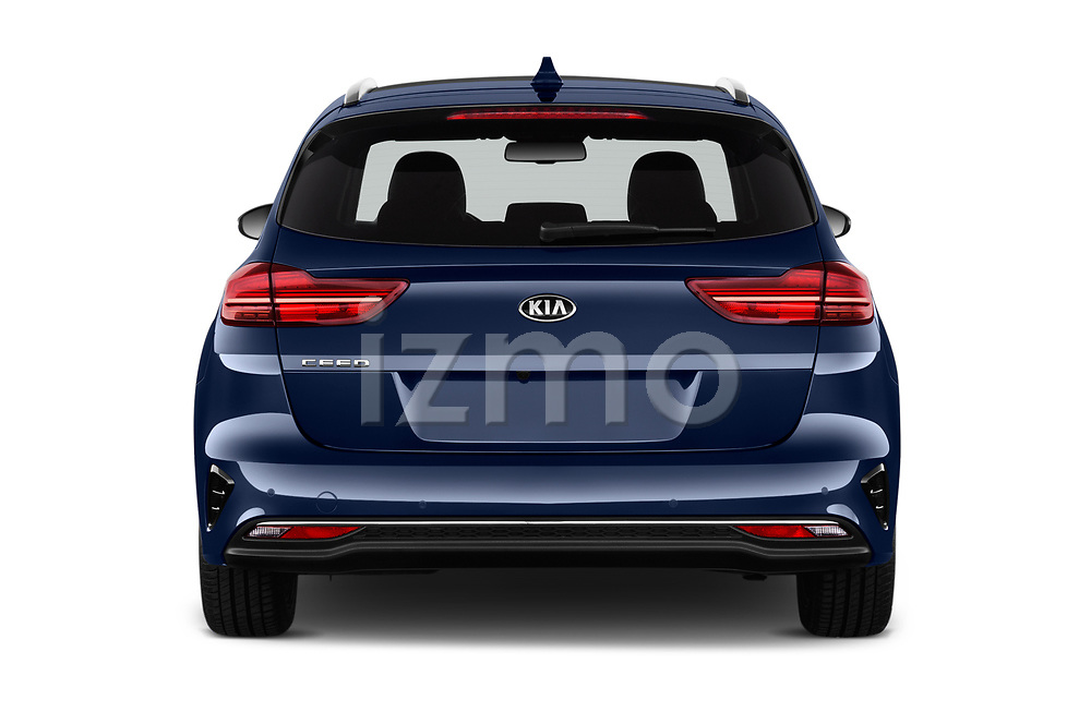 Straight rear view of 2019 KIA Ceed-SW More 5 Door Wagon Rear View  stock images