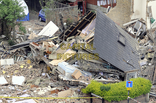 ATMOSPHERE.The scene after two cottages collapsed following a suspected gas explosion on May 8th Stanley Road, South Harrow, Middlesex, England..May 9th, 2008.gv g.v. general view destruction destroyed rubble house home.CAP/DH.©David Hitchens/Capital Pictures.
