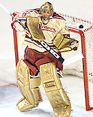 Peter Mannino keeps his eyes on the puck - The Ferris State Bulldogs defeated the University of Denver Pioneers 3-2 in the Denver Cup consolation game on Saturday, December 31, 2005, at Magness Arena in Denver, Colorado.