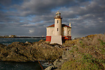 Oregon, Southwest, Bandon. Coquille River lighthouse in the morning light of autumn.