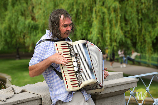 Boston Public Garden. Musician playing the accordion