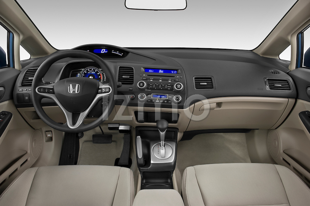 Straight dashboard view of a 2009 Honda Civic Hybrid.