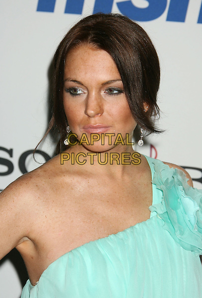 LINDSAY LOHAN.2008 Clive Davis Pre-Grammy Awards Party held at the Beverly Hilton Hotel, Beverly Hills, California, USA..February 9th, 2008.headshot portrait blue sheer one shoulder blue.CAP/ADM/RE.©Russ Elliot/AdMedia/Capital Pictures.