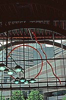 Boston: Boston Back Bay Station--interior.  Sculptural lighting.  Architects Kallman McKinnell & Wood. Photo '91.