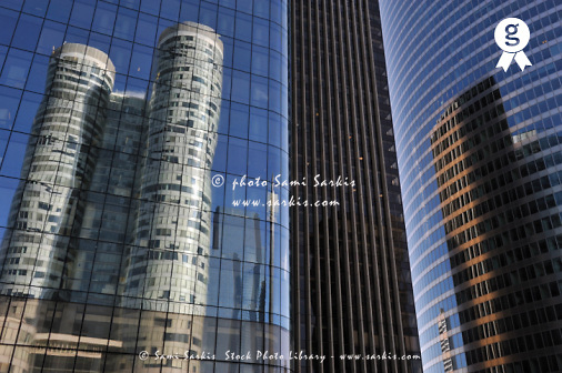 Reflection of Skyscrapers in La Defense (Licence this image exclusively with Getty: http://www.gettyimages.com/detail/95794846 )