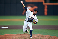 Buies Creek Astros relief pitcher Carlos Sanabria (28) delivers a pitch to the plate against the Winston-Salem Dash at Jim Perry Stadium on August 15, 2018 in Buies Creek, North Carolina.  The Astros defeated the Dash 5-0.  (Brian Westerholt/Four Seam Images)