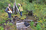 Local miners explore a 150 year-old mining drift of the Heron Claim on Grouse Creek, near Barkerville Historic Town, B.C.
