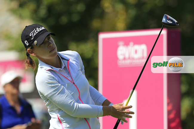 Karine Icher (FRA) tees off the 1st tee to start her match during Friday's Round 2 of the LPGA 2015 Evian Championship, held at the Evian Resort Golf Club, Evian les Bains, France. 11th September 2015.<br /> Picture Eoin Clarke | Golffile
