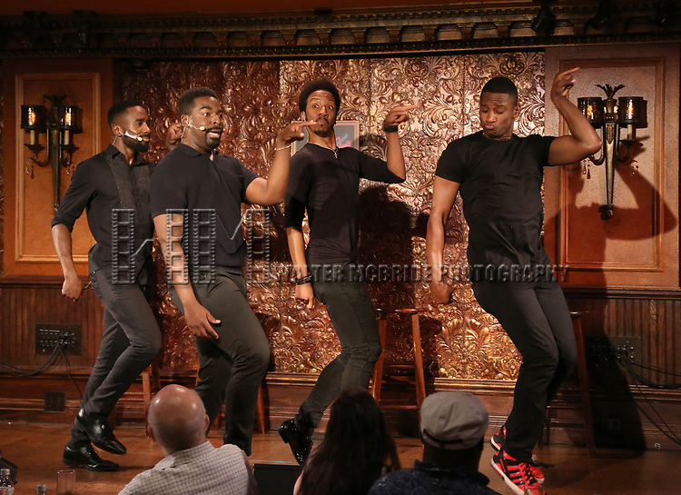 John Edwards, Kyle Taylor Parker, Dwayne Cooper and  Jelani Remy during the Press Preview Presentation for the new production of 'Smokey Joe's Cafe' at Feinstein's/54 Below on June 27, 2018 in New York City.