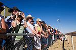 Spectators trackside at the annual Birdsville Cup horse races in Birdsville, Queensland, Australia