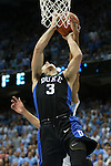 17 February 2016: Duke's Grayson Allen (3) is fouled on the arm while going up for a layup. The University of North Carolina Tar Heels hosted the Duke University Blue Devils at the Dean E. Smith Center in Chapel Hill, North Carolina in a 2015-16 NCAA Division I Men's Basketball game.