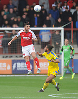 Fleetwood Town's Lewis Coyle under pressure from AFC Wimbledon's Nesta Guinness-Walker<br /> <br /> Photographer Kevin Barnes/CameraSport<br /> <br /> The EFL Sky Bet Championship - Fleetwood Town v AFC Wimbledon - Saturday 10th August 2019 - Highbury Stadium - Fleetwood<br /> <br /> World Copyright © 2019 CameraSport. All rights reserved. 43 Linden Ave. Countesthorpe. Leicester. England. LE8 5PG - Tel: +44 (0) 116 277 4147 - admin@camerasport.com - www.camerasport.com