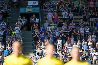 Seattle, WA - Sunday, May 1, 2016: Seattle Reign FC fans during the opening ceremony prior to a National Women's Soccer League (NWSL) match at Memorial Stadium. Seattle won 1-0.