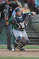 Beloit Snappers catcher Matt Koch #21  during a game against the Kane County Cougars at Fifth Third Bank Ballpark on June 26, 2012 in Geneva, Illinois. Beloit defeated Kane County 8-0. (Brace Hemmelgarn/Four Seam Images)
