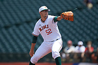 Miami Hurricanes relief pitcher Frankie Bartow (52) in action against the Georgia Tech Yellow Jackets during game one of the 2017 ACC Baseball Championship at Louisville Slugger Field on May 23, 2017 in Louisville, Kentucky. The Hurricanes walked-off the Yellow Jackets 6-5 in 13 innings. (Brian Westerholt/Four Seam Images)