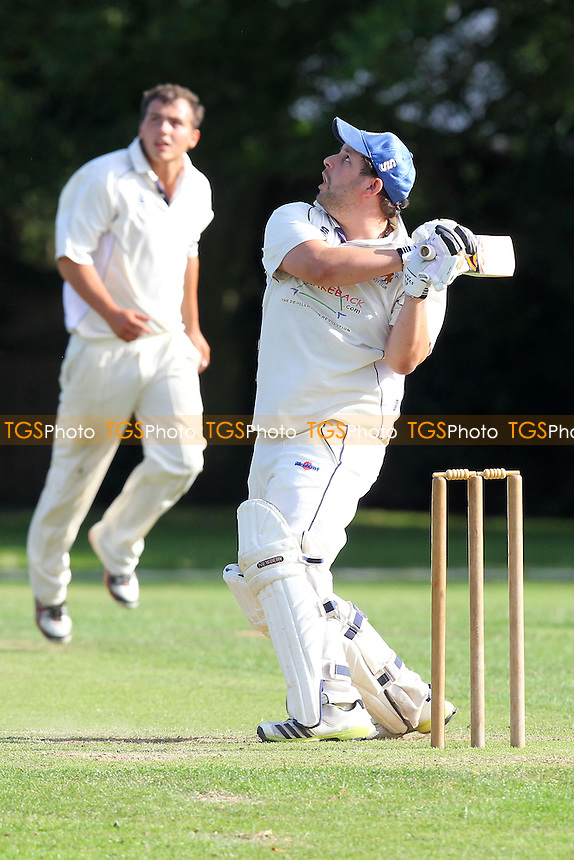 R Rafferty in batting action for Hornchurch Athletic as he skies the ball and is caught - Hornchurch Athletic CC vs Rayleigh CC 2nd XI - Mid-Essex Cricket League at Hylands Park - 03/08/13 - MANDATORY CREDIT: Gavin Ellis/TGSPHOTO - Self billing applies where appropriate - 0845 094 6026 - contact@tgsphoto.co.uk - NO UNPAID USE