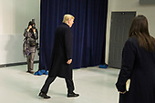 United States President Donald J. Trump departs after speaking to the media at Camp David, the presidential retreat near Thurmont, Maryland, after holding meetings with staff, members of his Cabinet and Republican members of Congress to discuss the Republican legislative agenda for 2018 on January 6, 2018.<br /> Credit: Chris Kleponis / Pool via CNP