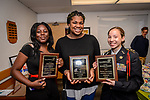WATERBURY, CT. 07 May 2018-050718BS20 - From left, Crosby High Students Jonell Bailey of Waterbury, Tianna Felder of Waterbury, and Mariaha Ramdin of Waterbury stand together after being recognized and receiving awards during the 15th Annual Excellence in Youth Awards at the Waterbury Youth Services on Monday evening. Bill Shettle Republican-American