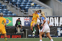 Seattle, WA - Thursday July 27, 2017: Sam Kerr during a 2017 Tournament of Nations match between the women's national teams of the United States (USA) and Australia (AUS) at CenturyLink Field.
