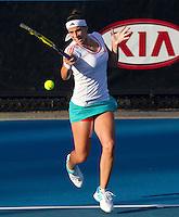 PAULA ORMAECHEA (ARG) against AGNIESZKA RADWANSKA (POL) in the Second round of the women's Singles. Agnieszka Radwanska beat Paula Ormaechea  6-3 6-1 ..18/01/2012, 18th January 2012, 18.01.2012..The Australian Open, Melbourne Park, Melbourne,Victoria, Australia.@AMN IMAGES, Frey, Advantage Media Network, 30, Cleveland Street, London, W1T 4JD .Tel - +44 208 947 0100..email - mfrey@advantagemedianet.com..www.amnimages.photoshelter.com.