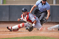 SK Wyverns catcher KIM MIN SIK (24) attempting to tag a runner sliding safely at home during an instructional league game against the Colorado Rockies on October 10, 2015 at the Salt River Fields at Talking Stick in Scottsdale, Arizona.  (Mike Janes/Four Seam Images)