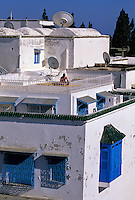 "Tunisia, Sidi Bou Said.  Rooftop Sun Bathing, Reading.  Enclosed ""Harem Window"" Lower Right."