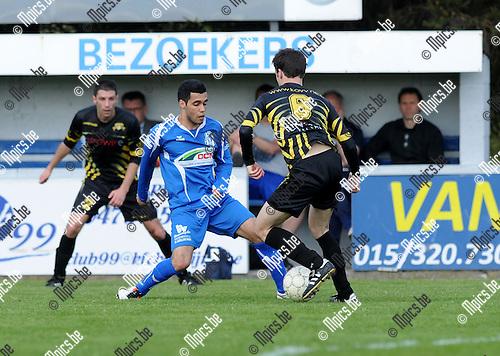 2013-05-05 / Voetbal / seizoen 2012-2013 / Katelijne - Overpeltse / Nacer Benhamou (l. Katelijne) met Jan Houben..Foto: Mpics.be