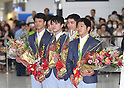 (L-R) Yusuke Tanaka, Ryohei Kato, <br /> Kohei Uchimura, Kenzo Shirai, <br /> Koji Yamamuro (JPN), <br /> AUGUST 20, 2016 - Artistic Gymnastics : <br /> Japanese gymnasts arrive at Narita Airport in Chiba, Japan. <br /> Japan won the gold medal <br /> at the Artistic Gymnastics men's team competition <br /> in the Rio 2016 Olympic Games. <br /> (Photo by AFLO SPORT)
