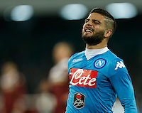 Napoli's Lorenzo Insigne  reacts  during the  italian serie a soccer match,between SSC Napoli and Torino      at  the San  Paolo   stadium in Naples  Italy , January 07, 2016