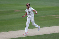 Wiaan Mulder of Kent celebrates taking the wicket of Alastair Cook during Essex CCC vs Kent CCC, Specsavers County Championship Division 1 Cricket at The Cloudfm County Ground on 29th May 2019