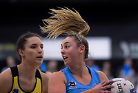Gina Crampton takes a pass during the ANZ Premiership netball final between the Central Pulse and Southern Steel at Arena Manawatu in Palmerston North, New Zealand on Sunday, 12 August 2018. Photo: Dave Lintott / lintottphoto.co.nz