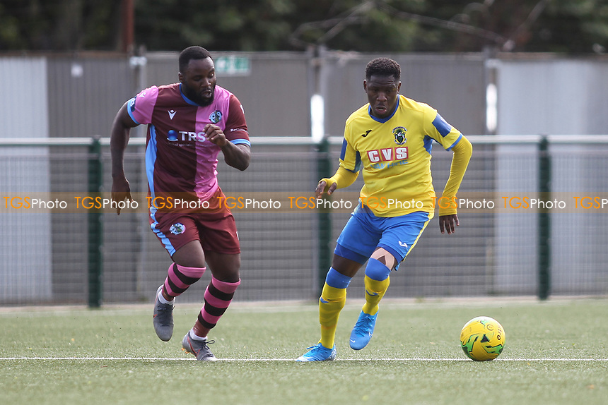 Anthony Mcdonald of Haringey and Kewat Serbonij of Corinthian during Haringey Borough vs Corinthian Casuals, BetVictor League Premier Division Football at Coles Park Stadium on 10th August 2019