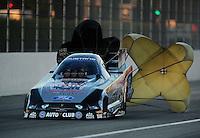 Nov 12, 2010; Pomona, CA, USA; NHRA funny car driver Ashley Force Hood during qualifying for the Auto Club Finals at Auto Club Raceway at Pomona. Mandatory Credit: Mark J. Rebilas-