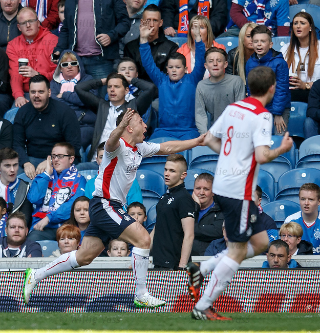 John Baird celebrates as Falkirk take the lead at Ibrox