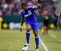 Teal Bunbury of the Kansas City Wizards dribbles his way to a goal.The Kansas City Wizards defeated CD Chivas USA 2-0 at Home Depot Center stadium in Carson, California on Sunday September 19, 2010.