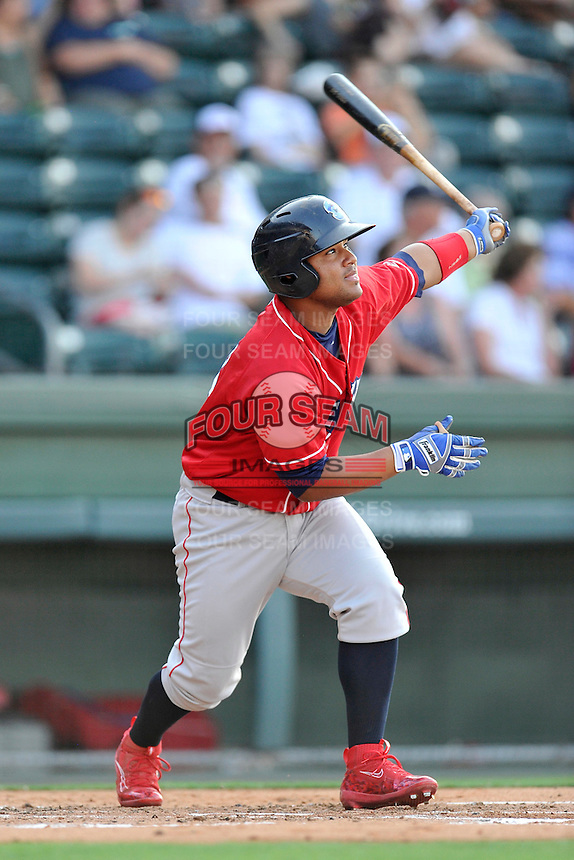 Designated hitter Wilson Garcia (25) of the Lakewood BlueClaws bats in a game against the Greenville Drive on Thursday, June 23, 2016, at Fluor Field at the West End in Greenville, South Carolina. Lakewood won, 8-7. (Tom Priddy/Four Seam Images)
