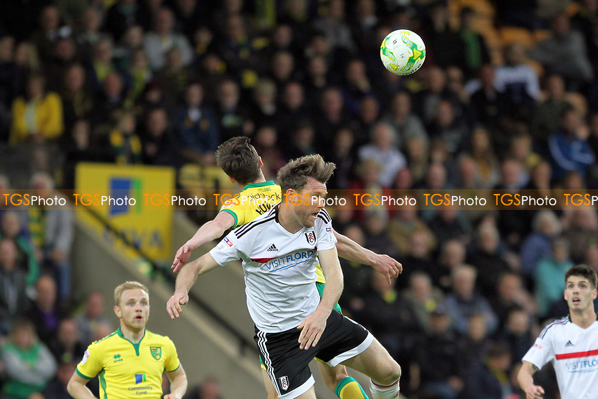 Kevin McDonald of Fulham heads the aerial ball during Norwich City vs Fulham, Sky Bet EFL Championship Football at Carrow Road on 14th April 2017