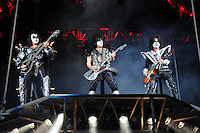 ALBUQUERQUE NM - AUGUST 7:  Gene Simmons, Paul Stanley and Tommy Thayer of Kiss perform at the Hard Rock Casino Albuquerque on August 7, 2012 in Albuquerque, New Mexico. /NortePhoto.com<br />