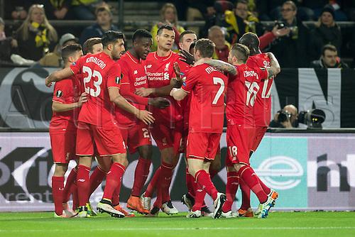 07.04.2016. Dortmund, Germany. Europa League quarterfinal. Borussia Dortmund versus Liverpool FC at the Signal Iduna Park Dortmund.  Emre Can (FC Liverpool 23) cerlebrates with team mates  as Origi gives them a 0-1 lead