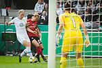 01.05.2019, RheinEnergie Stadion , Köln, GER, 1.FBL, Borussia Dortmund vs FC Schalke 04, DFB REGULATIONS PROHIBIT ANY USE OF PHOTOGRAPHS AS IMAGE SEQUENCES AND/OR QUASI-VIDEO<br /> <br /> im Bild | picture shows:<br /> Klara Buehl (SC Freiburg Frauen #21) im Duell mit Nilla Fischer (VfL Wolfsburg #4) vor dem Tor, <br /> <br /> Foto © nordphoto / Rauch