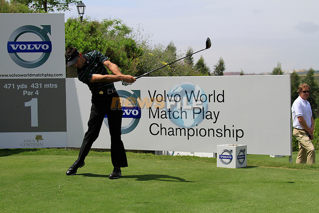 Charl Schwartzel (RSA) teeing off on the 1st tee during Day 1 of the Volvo World Match Play Championship in Finca Cortesin, Casares, Spain, 19th May 2011. (Photo Eoin Clarke/Golffile 2011)